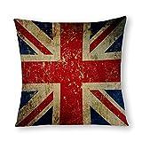VinMea Decorative Cotton Linen Pillow Covers Grunge Union Jack - Scratched Metal Effect Throw Pillow Case Cushion Cover Home Decor,Square 22 X 22 Inches