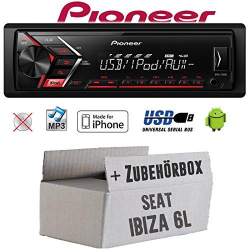 Autoradio Radio Pioneer MVH-S110UI - | MP3 | USB | Android | iPhone Einbauzubehör - Einbauset für Seat Ibiza 6L - JUST SOUND best choice for caraudio