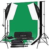 CRAPHY Kit Iluminación Fotografía con 2 Softbox 50 cm x 70 cm, 3 Fondo Muselina 1,8 m x 2,8 m con Portafondos 3 m x 2 m, 2 Trípode Luz Continua, 2 Bolsa Portátil para Estudio Fotográfico