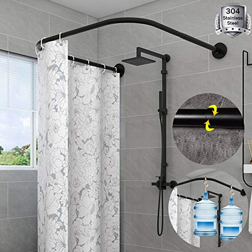 HKNC Curved Shower Curtain Rod Extendable U Shaped Corner Bath Curtain Rail Bar No Drilling Adjustable 304 Stainless Steel Black Bathroom Tub Pole Decorative,80 to 1208080 to 120cm