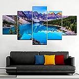 KOPASD 5 Piezas Ciudad de Noche de Arte de Pared impresión en Lienzo Lago Azul Brillante Moraine Arte Moderno para decoración del hogar