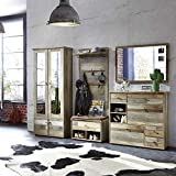 Bonanza Vintage Garderoben Set in Driftwood Optik - Retro Flurgarderobe für Ihren Eingangsbereich - 274 x 188 x 40 cm (B/H/T) - 3