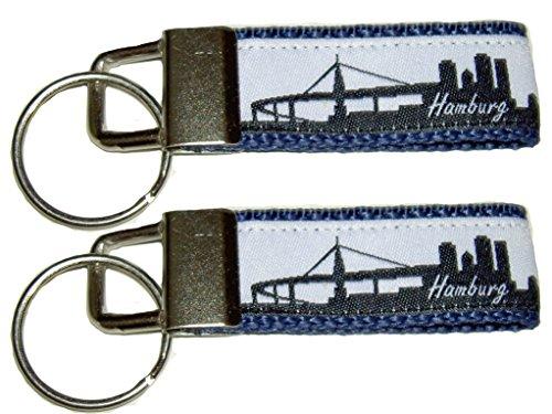 HH-NN-1968 2X Schmaler Partner Schlüsselanhänger mit Skyline - Hamburg - für Taschen, Jacken und Schlüssel in Dunkelblau
