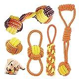 Juguetes de Cuerda para Perros, Juego de Juguetes para Perros Cachorros, Juguete Masticable para Perros Indestructible, Pelota con Cuerda para Perros Pequeños/ Mediano (Naranja)