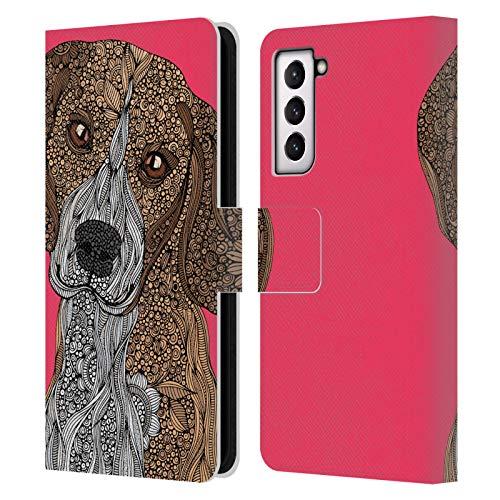 Head Case Designs Licenciado Oficialmente Valentina Beagle Perros Carcasa de Cuero Tipo Libro Compatible con Samsung Galaxy S21 5G