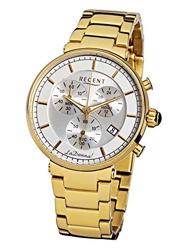 Regent dameshorloge La Donna chronograaf met roestvrijstalen armband datum goudkleurig/wit LD-1311