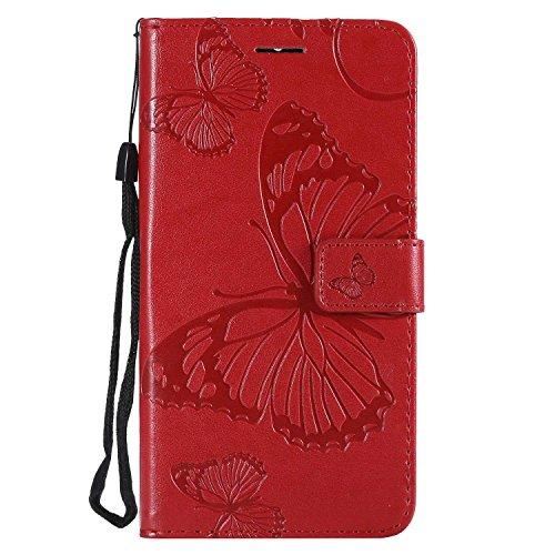 DENDICO Cover Moto G5S Plus, Pelle Portafoglio Custodia per Moto G5S Plus Custodia a Libro con Funzione di appoggio e Porta Carte di cRossoito - Rosso