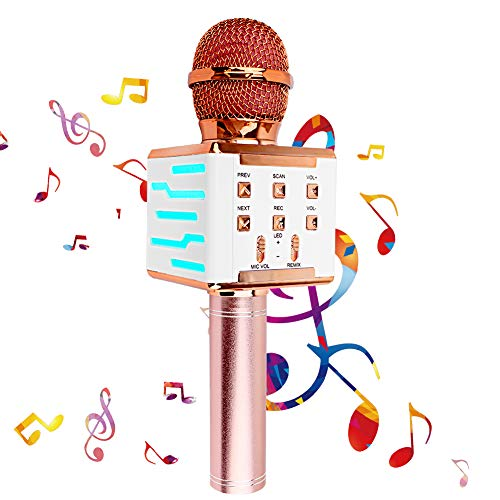Ammonojo Wireless Bluetooth Karaoke Microphone,with Controllable LED Lights,5 in 1 Portable Handheld Karaoke Speaker,Best Gifts Toys for Kids Girls,Birthday/Home/Party/Christmas/Outdoor