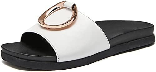 JIANXIN des Sandales Femelle Pantoufles Pantoufles Plates Anneau en Metal été Décontracté Et Confortable Sandales d'une Seule Pièce 35-39 Verges (Couleur   Blanc, Taille   EU 35 US 5 UK 3 JP 22.5cm)  la qualité d'abord les consommateurs d'abord