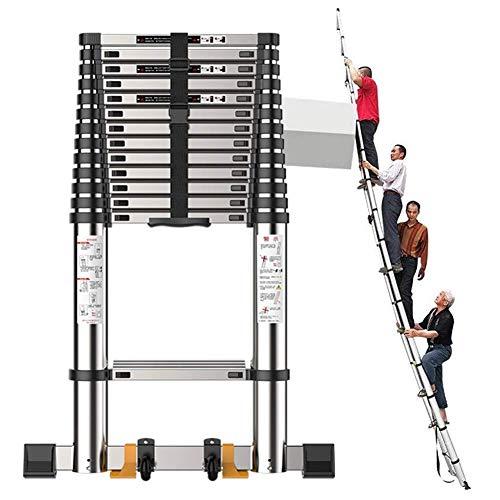 Muy Alta subir la escalera telescópica con barra estabilizadora, aluminio Escalera Portátil Negro Extensión de ático/azotea/Exterior/Industrial, 150 kg de carga lxhff (Size : 7.1M/23ft)