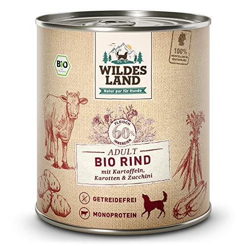 Wildes Land | Nassfutter für Hunde | Bio Rind | 6 x 800 g | Getreidefrei & Hypoallergen | Extra hoher Fleischanteil von 60% | 100% zertifizierte Bio-Zutaten | Beste Akzeptanz und Verträglichkeit