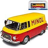 Model Car Group Barkas B1000 Transporter Kasten Minol DDR Gelb Rot 1961-1990 1/18 Modell Auto mit individiuellem Wunschkennzeichen