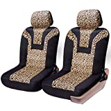 COOLBEBE Car Seat Covers - Leopard Pattern Integrated Auto Seat Cover Car Protector Interior Accessories, Airbag Compatible, Universal Fits for Cars, SUV, Truck
