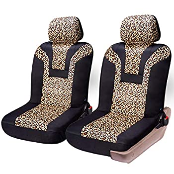 COOLBEBE Leopard Car Seat Covers - Cheetah Pattern Integrated Auto Seat Cover Car Protector Interior Accessories Airbag Compatible Universal Fits for Cars SUV Truck