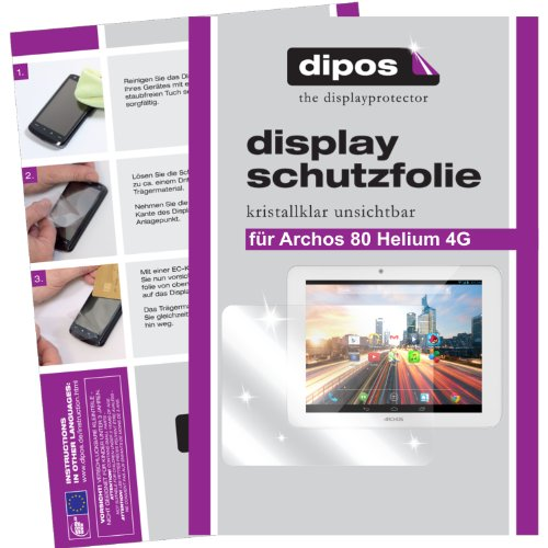 dipos I 2X Schutzfolie klar kompatibel mit Archos 80 Helium 4G Folie Bildschirmschutzfolie