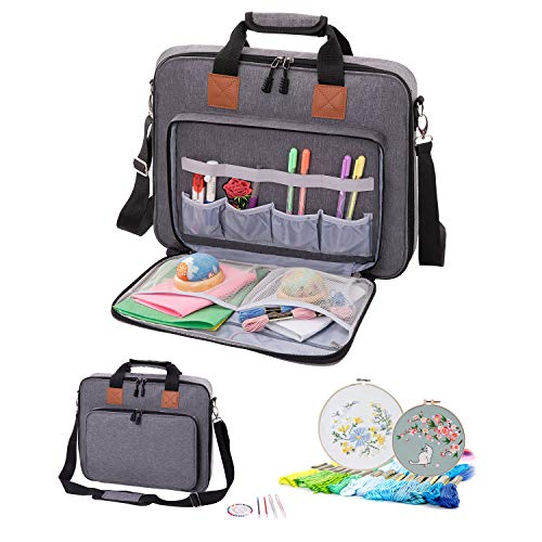 AFUOWER Embroidery Kit Storage Bag, Embroidery Project Bag with Shoulder Strap (Gray)