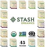 Stash Organic Tea Sampler - Assortment Variety Pack Gift Set - Black, White, Green & Herbal Tea Bags - 45 Count, 15 Flavors - /w Eco-Friendly Cotton Bag