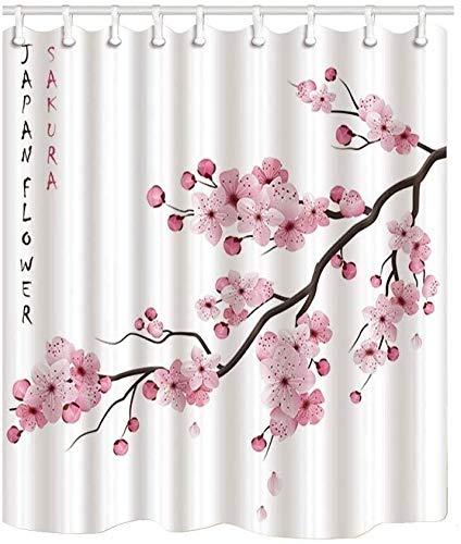 XCJJ Klassische Japanische Kultur Duschvorhänge, Realistisch Sakura Japan Cherry Branch mit blühenden Blumen wasserdichte Polyester-Gewebe Badezimmer-Dekor, Bad Gardinen Zubehör 69X70 Inches