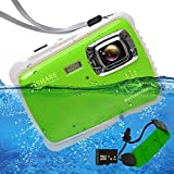 Underwater Camera 21MP Waterproof Digital Camera Full HD 1080p 2.0' LCD Video Recorder Kids Digital Camera Waterproof Camera for Girls/Boys (Green Float Strap & 16G Card)