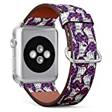 Compatible with Apple Watch (Small Version) 38 / 40mm Leather Wristband Bracelet with Stainless Steel Clasp and Adapters -Cute French Bulldog