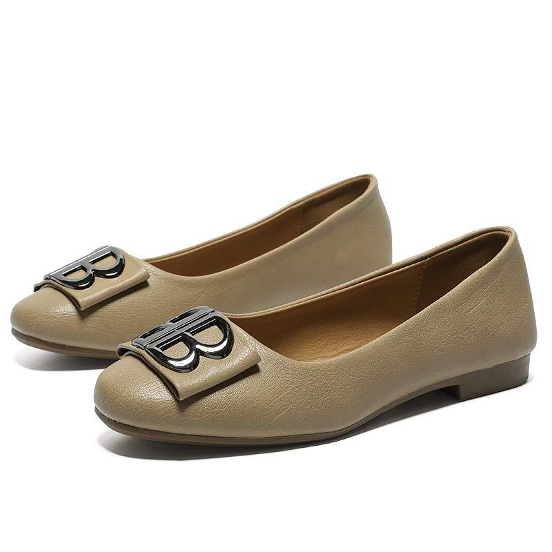 Gangxia夏レディースシューズ2019フラット作業靴浅い口野生の怠惰なエンドウ豆の靴快適な柔らかい底カジュアルな妖精の靴