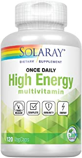 Solaray High Energy Multivitamin | Once Daily, Timed-Release Formula | Whole Food & Herb Base | Non-GMO | 120 VegCaps