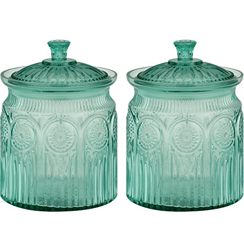 The Pioneer Woman Adeline Glass Cookie Jar - Turquoise - 2-Pack