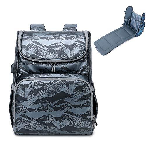 PINGDI - Cama plegable para bebé, bolsa para pañales con puerto de carga USB