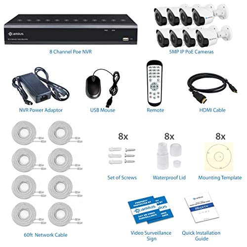 Camius 4K 8 Channel PoE NVR System with 3TB HDD, 8 Wired Bullet 5MP PoE IP Security Cameras - Audio, Night Vision, Wide View, Motion Detection - PC Mac Software, Browser, Mobile App 8P8B3T