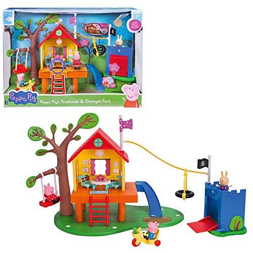 Jazwares PEP0604 – Casa del árbol de Peppa Pig y castillo de Schorsch s como juego de castillo de juguete y castillo con 3 figuras y accesorios, casa de juguete con luz y sonido