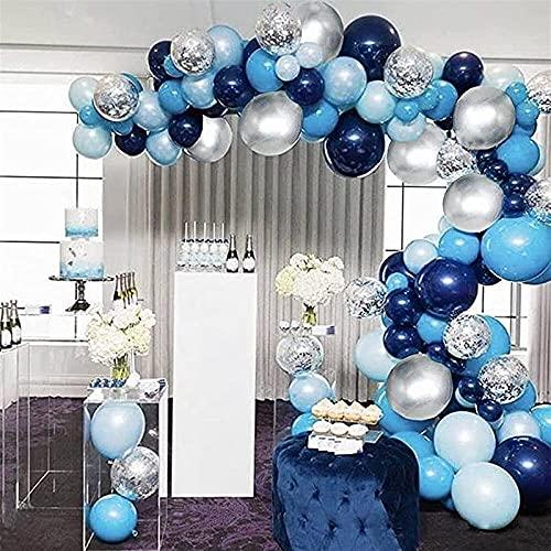 Kit de arco de guirnalda de globos azul, 102 piezas de arco de guirnalda de globos azul marino con globos metálicos azules plateados blancos para baby shower de niño, decoraciones de primer cumpleaños