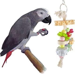 Hypeety Bird Chew Toy Calcium Teeth Grinding Stone Chew Treats Wood String Toy for Hamster Bird Parrot African Grey Parake...
