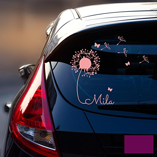 ilka parey wandtattoo-welt® Autotattoo Heckscheibenaufkleber Fahrzeug Aufkleber Sticker Baby Name Pusteblume M1864 - ausgewählte Farbe: *lila* ausgewählte Größe: *L - 32cm breit x 30cm hoch*