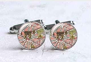 Vintage Map Cufflinks,Paris Map Cufflinks,Personalized Cufflinks,Glass Round Silver Cufflinks,Charm Jewelry,Shirt Cufflinks