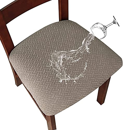 LANSHENG Jacquard Elástico Impermeable Fundas para Asientos de sillas de Comedor Fundas para sillas de Comedor Fundas para sillas de Cocina con Hebilla (Gris Pardo,4 Unidades)