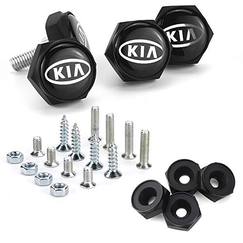 Bettway 4pcs/Set Car License Plate Frame Screw Bolts - Logo Cap Cover Metal Screw Bolts Nuts Anti-Theft Universal Car Truck Accessories fit for Kia (Black Nuts)