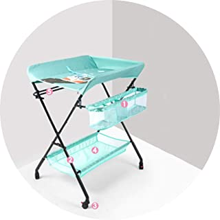 Portable Changing Mats Diaper Table Baby Multifunctional Bath Care Table Universal Wheel Portable Folding Table (Color : B, Size : 82 * 65 * 105cm)