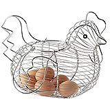 Soporte para huevos con forma de pollo, cesta de alambre de metal para frutas,...