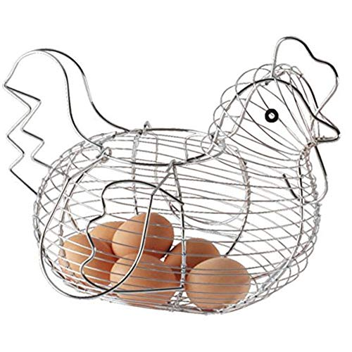 Soporte para huevos con forma de pollo, cesta de alambre de metal para frutas, organizador de aperitivos, utensilios de cocina, suministros para el hogar