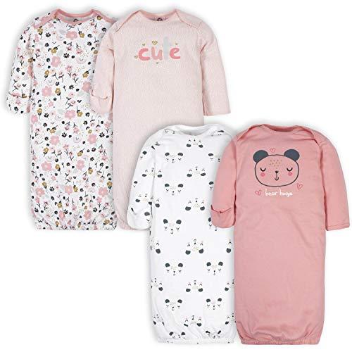 Gerber Baby Girls' 4-Pack Gown, Bear Pink, 0-6 Months