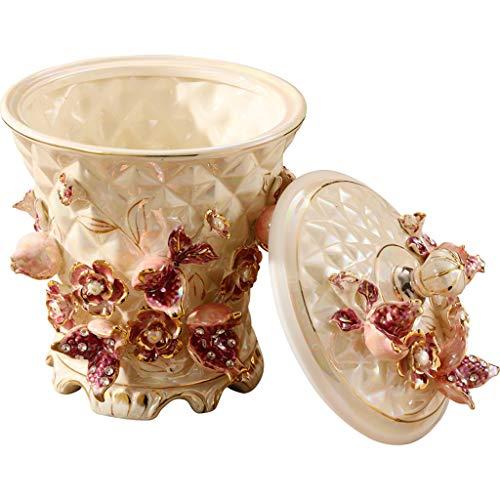 Poubelle De Style européen Céramique Trash Can Ménage Retro Salon Cuisine Salle de Bain Chambre Poubelle avec Couvercle Poubelle Bacs à déchets (Color : White)