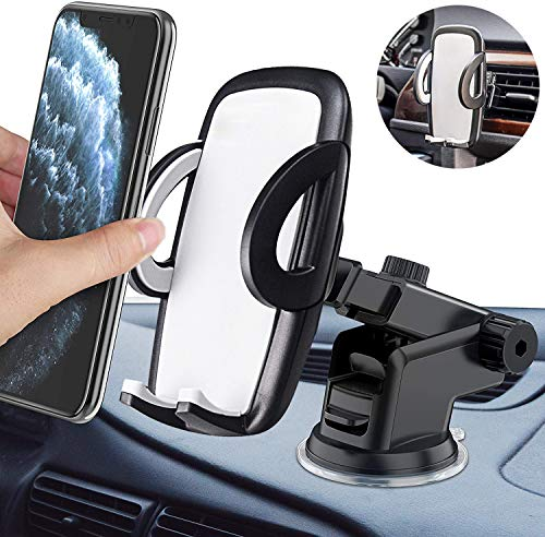 Mobile Phone Holder for Car Air Vent & Suction Cup Holder 3 in 1 Universal Car Mobile Phone Holder Smartphone Holder for iPhone SE 2020/11/Samsung S20/ S10/ Note10/ Huawei Xiaomi LG etc.