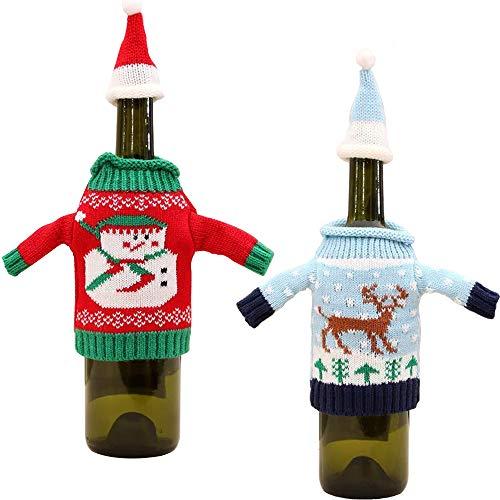 ANPI Tapa de Botella de Navidad, Bolsas de Tapa de Botella con Diseño de Malla para Botellas de Vino, Decoración Navideña para Mesa de Fiesta de Navidad en Casa