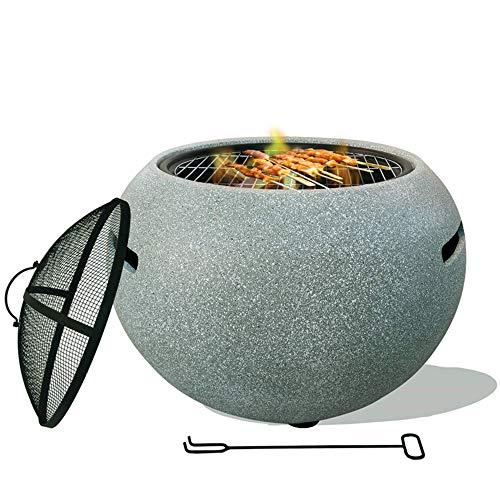HKX Feuerschale Feuerstelle, Feuerschale Premium Feuerschale Mit Funkenschutz Zum Entspannen - Feuerstelle Zum Grillen Für Garten, Balkon & Terrasse -...