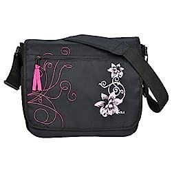 Trendige Din A4 Hibiskus Flowers Umhängetasche KEANU Laptop Messenger Bag mit Organizerfach Schultertasche Schultasche Schwarz Pink