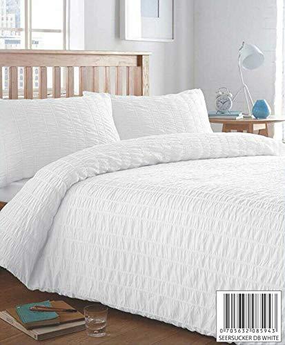 SEERSUCKER STRIPE EASY CARE PUCKERING COTTON RICH DUVET COVER & PILLOWCASE/S BEDDING BED LINEN SET (White, King)