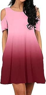〓COOlCCI〓Women's Cold Shoulder Midi Dress Short Sleeve Swing Dress with Pockets Tunic Top Swing T-Shirt Dress