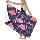 AGSIGGS - Asciugamani da Bagno per nuotatori in Hotel, Leggeri e Morbidi, con Fenicotteri, per Spiaggia, Sport, Campeggio, Nuoto, Palestra, Doccia