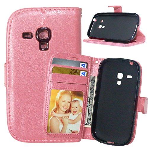 YYhin Case per Cover Samsung Galaxy S3 Mini - Custodia Protettiva in Pelle Morbida di Alta qualità per Portafoglio con Custodia Chiusura Magnetica Slot per schede(DK08/Rosa)