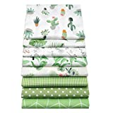 YYSZ 8Pcs Green 18' x 22' Fat Quarters Fabric Bundles for Patchwork Quilting,Pre-Cut Quilt Squares for DIY Sewing Patterns Crafts